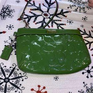 Authentic green coach wristlet